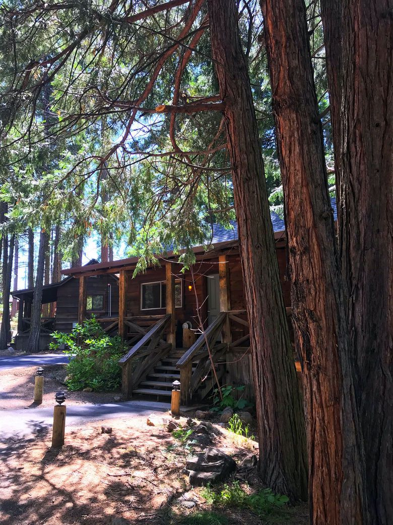Our cabin in the woods.near Yosemite National Park at Evergreen Lodge WhereGalsWander