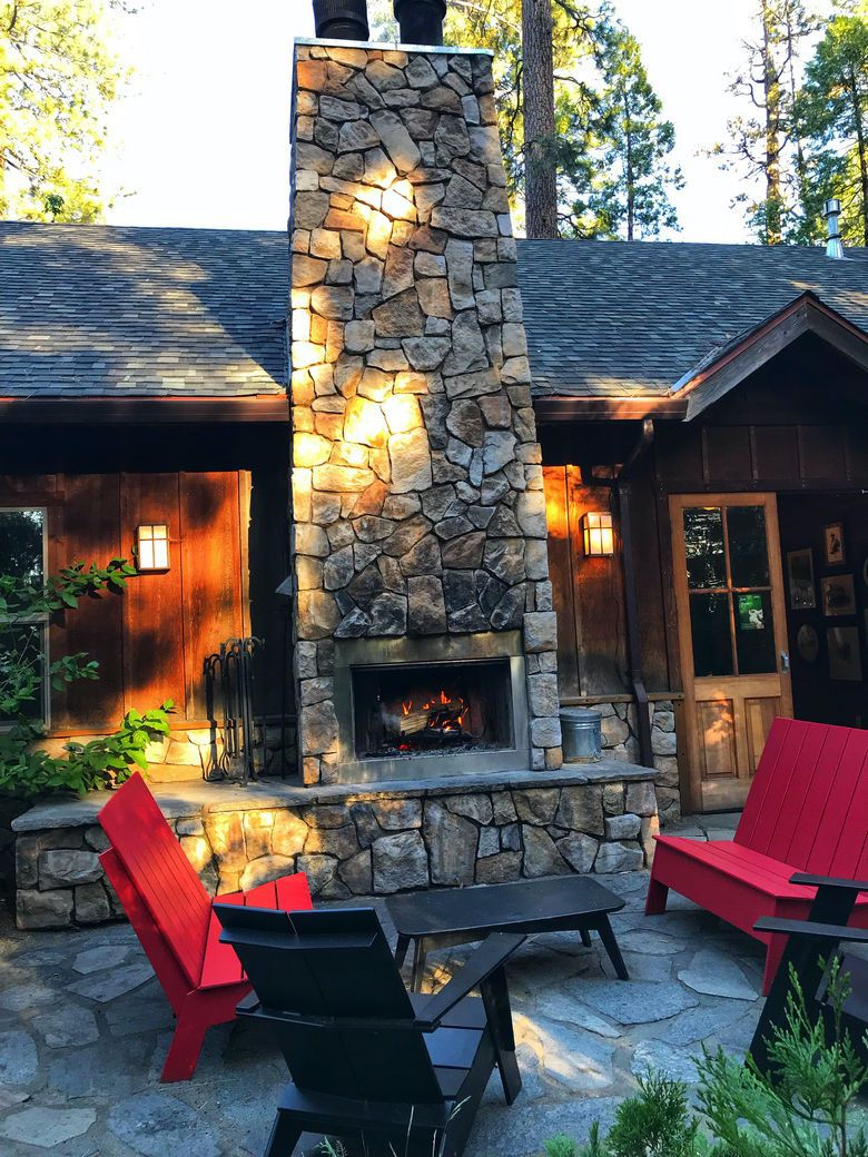 Campfires fireplace cabin design Evergreen Lodge Yosemite. WhereGalsWander