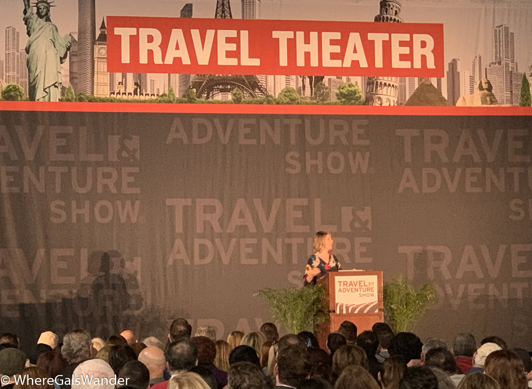 Samantha Brown speaking at the LA Travel and Adventure Show