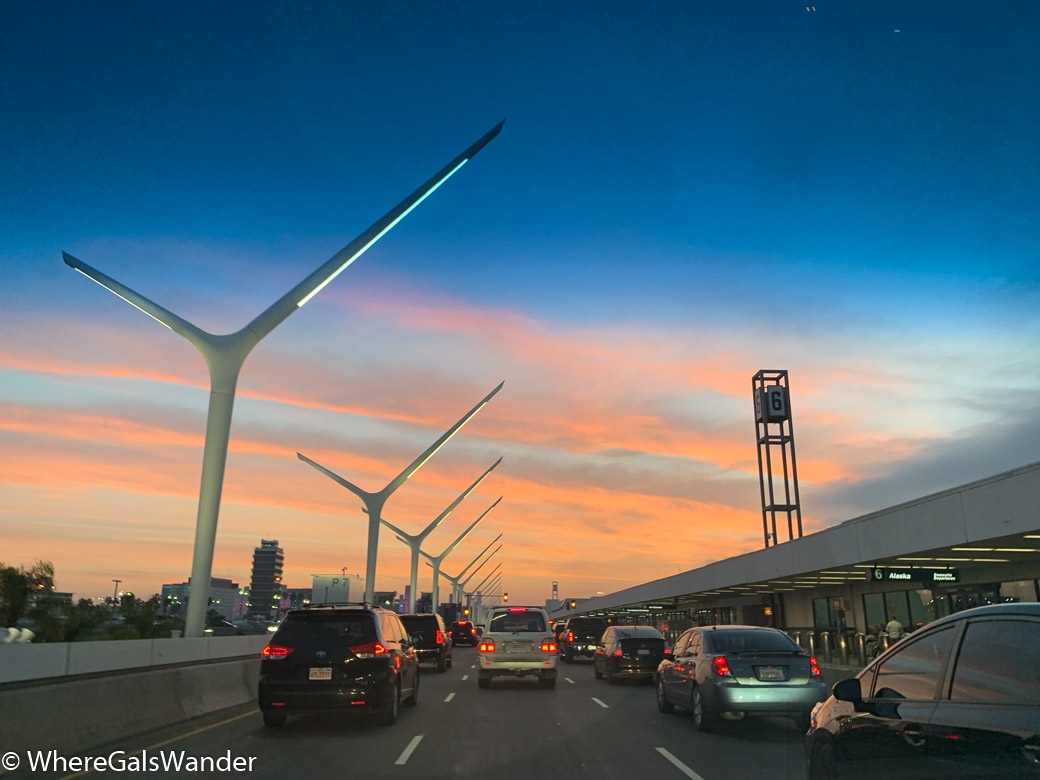 Sunset at Los Angeles LAX Airport California WhereGalsWander