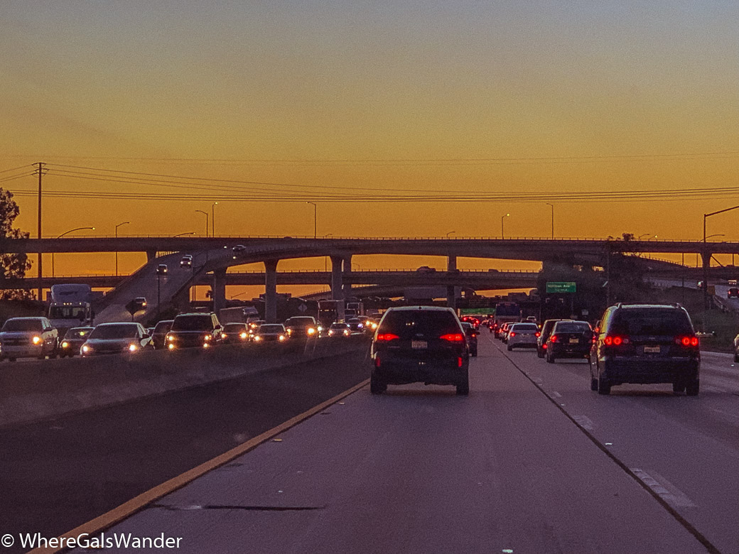 Ontario LA Traffic Sunset WhereGalsWander