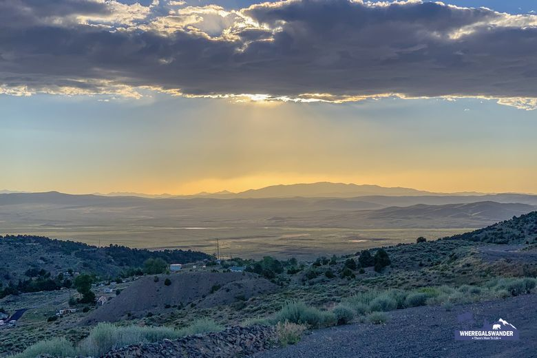 Sunset along the Loneliest Road in America, Highway 50 Nevada. WhereGalsWander
