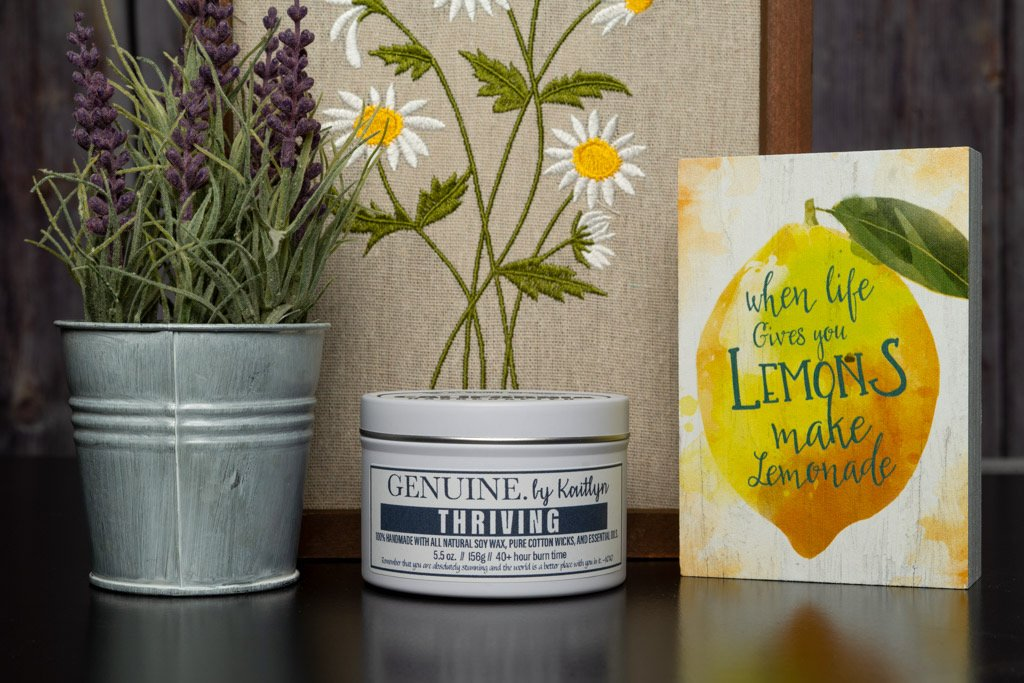 """All-natural soy candle """"Thriving"""", from the Genuine by Kaitlyn line of California Handcarfted candles."""