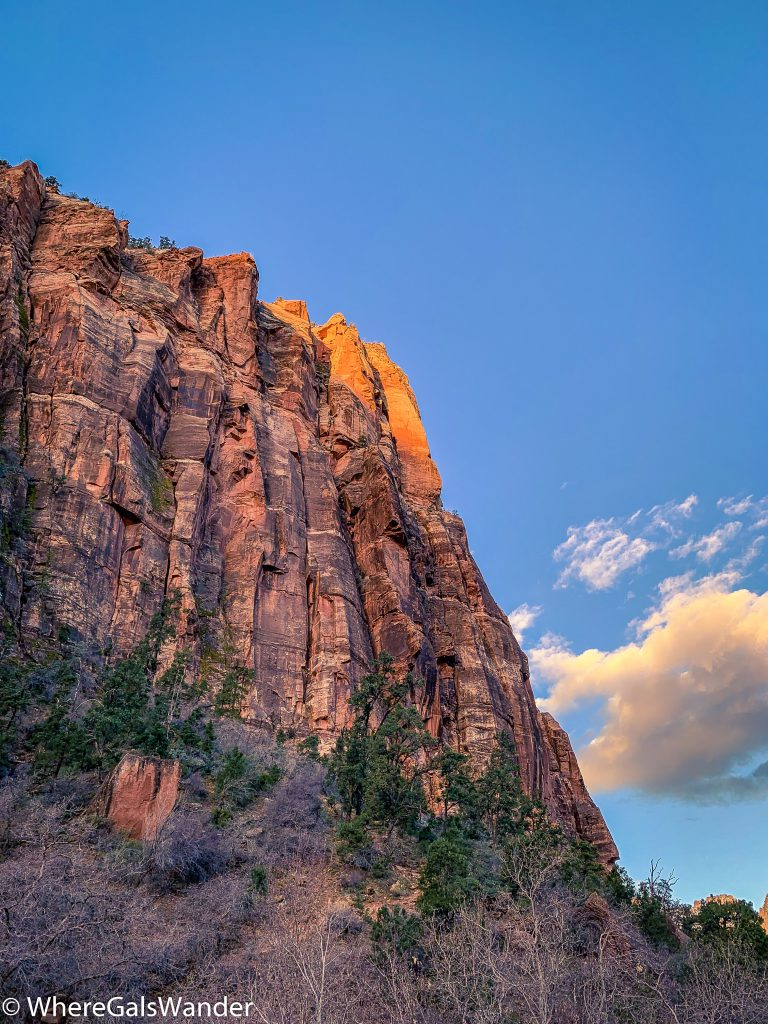 Sunrise coming up at Zion National Park
