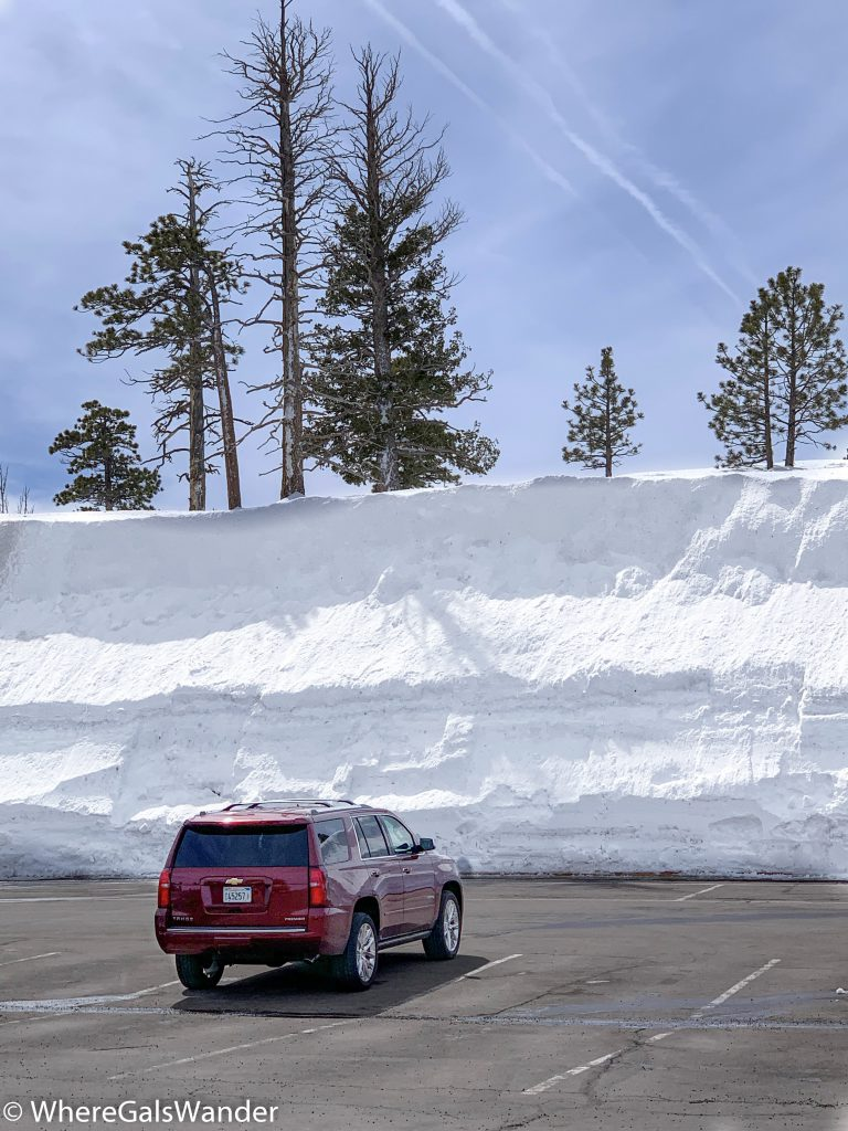 There was a bit of snow on the ground in March.  Actually, most of Bryce National Park was closed due to heavy snow.