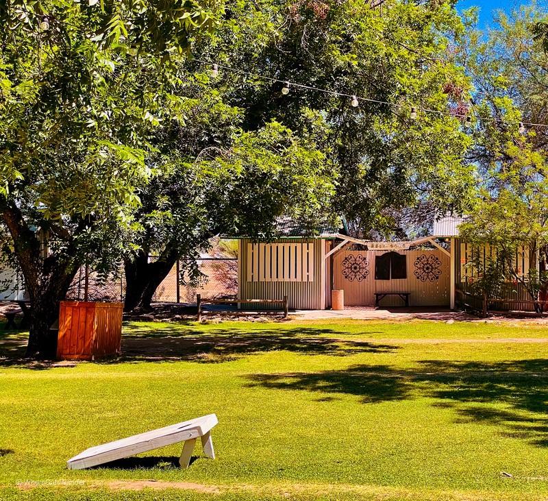 Yard games and picnic setting at The Farm.