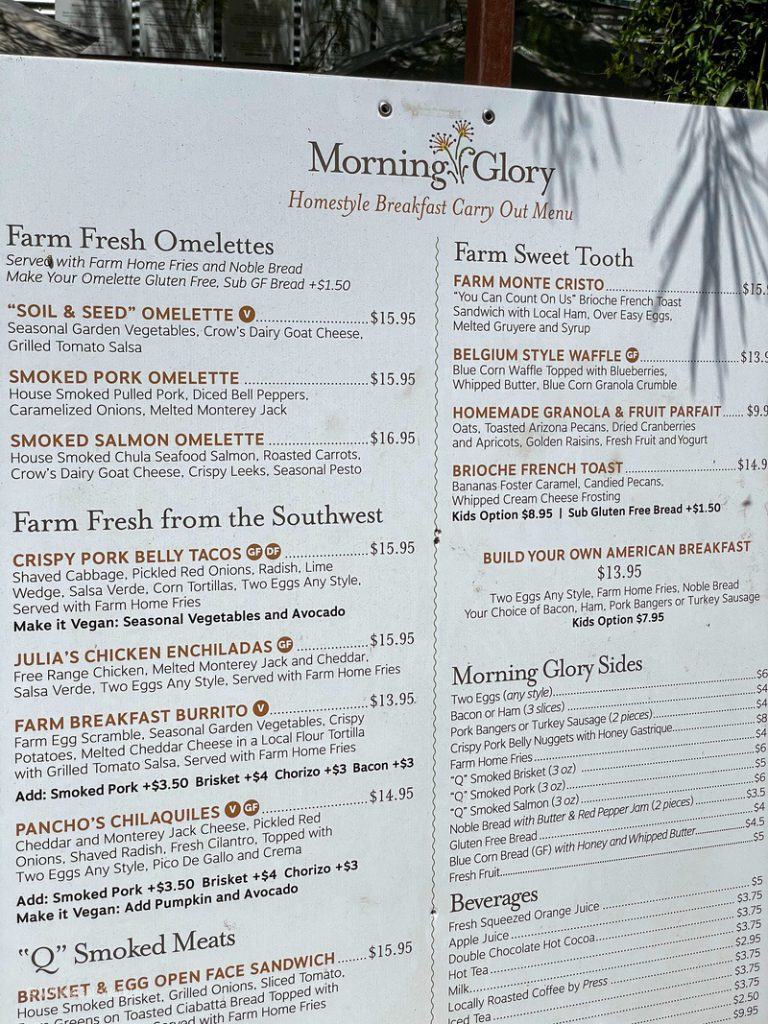 The breakfast menu at Morning Glory at The Farm